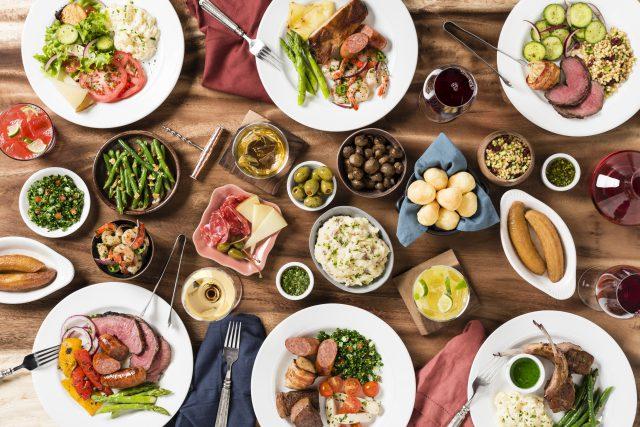 Birdeye view of table full of food