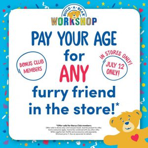 Build-A-Bear Pay Your Age Day Graphic