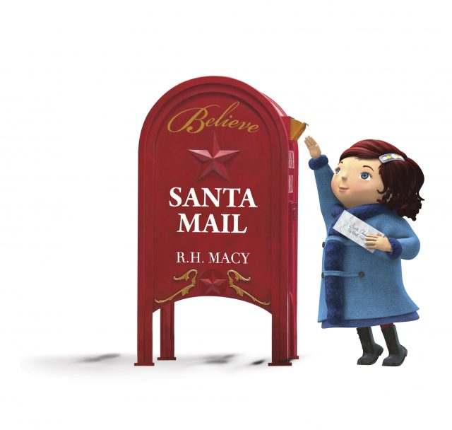 cartoon picture of a red mailbox and a little brunette girl putting a letter in the mailbox
