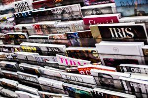 rack full of magazines