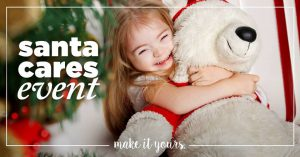 young girl with downsyndrome holding a white bear with santa ourfit