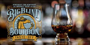 big blind bourbon taste-off logo with a glass of bourbon next to it