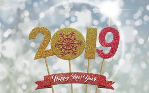 celebrate: sign that says 2019 happy new year's
