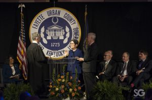 linda gorton taking her oath as mayor at the inaugural ceremony
