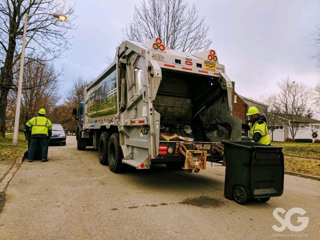 trash waste: garbage truck and garbage collector