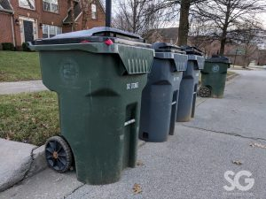 a row of 3 herbies on the curb for presidents' day