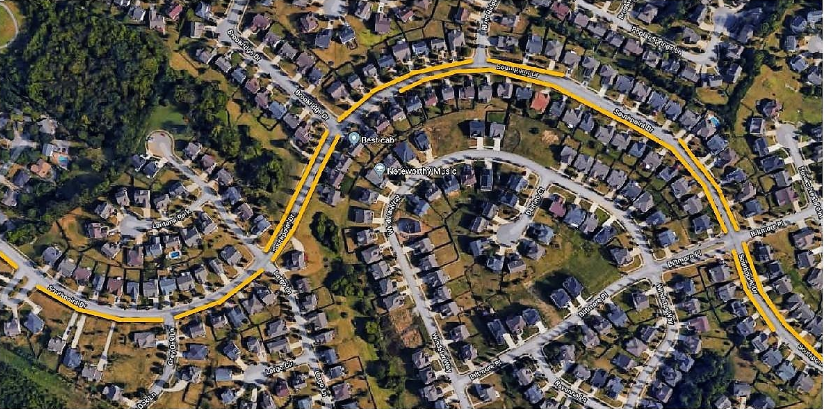 parking: map of a neighborhood with yellow lines