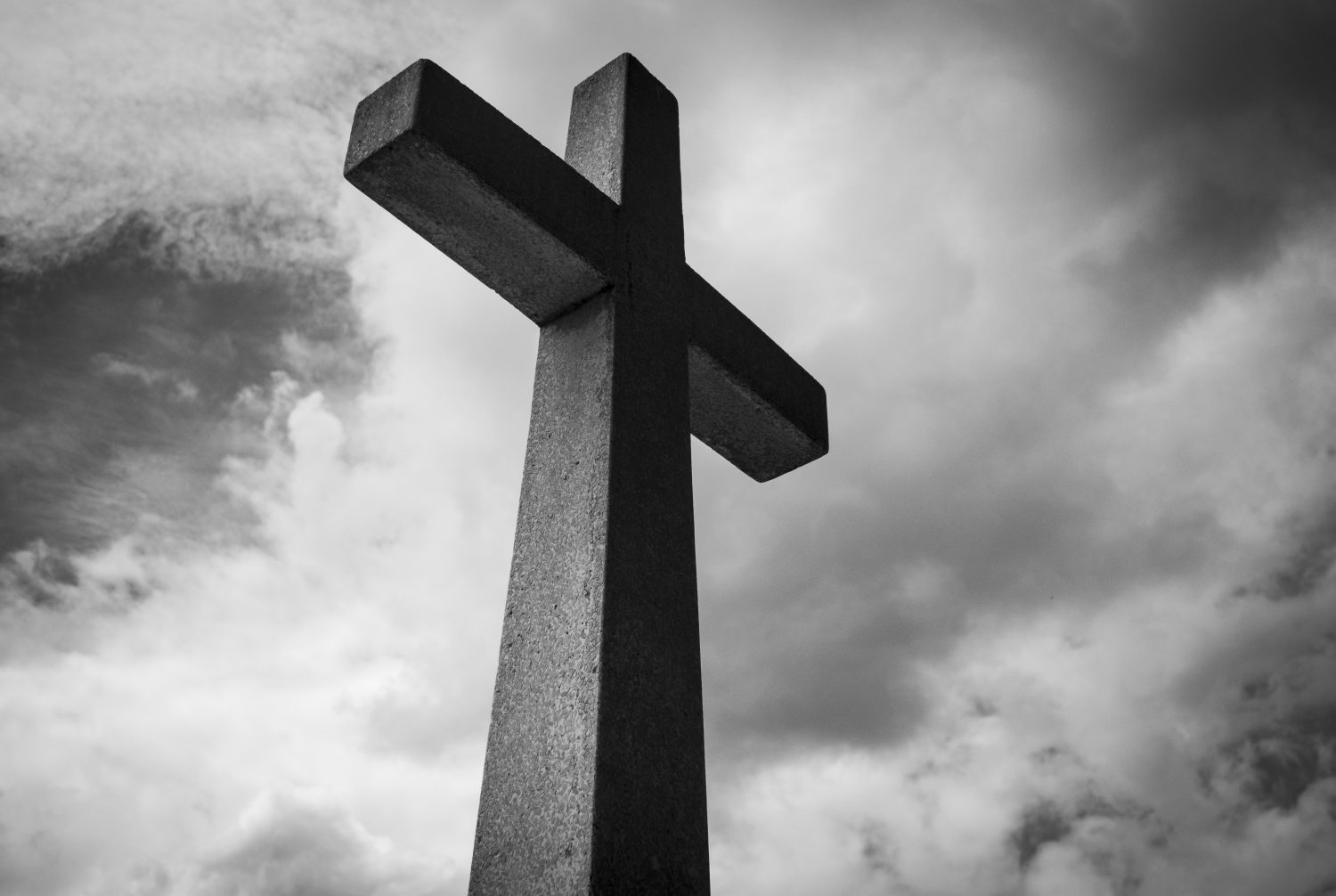 ash wednesday: black and gray picture of a cross and the sky