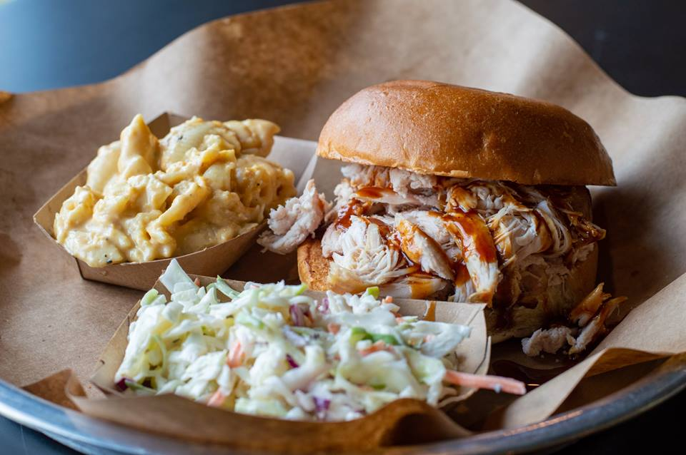 restaurant lexington restaurant: bbq sandwith with coleslaw and another side