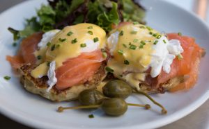 Brunch: eggs benedict with salmon
