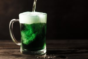 St. Patrick's Day: green beer in a clear mug