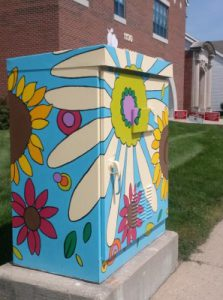 Art: a traffic signal box painted with a mural