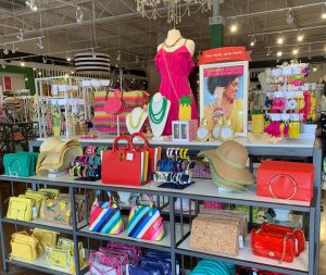 close: a display of clothes and accessories