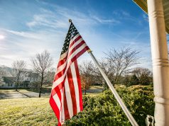 Labor Day: an American Flag on a house